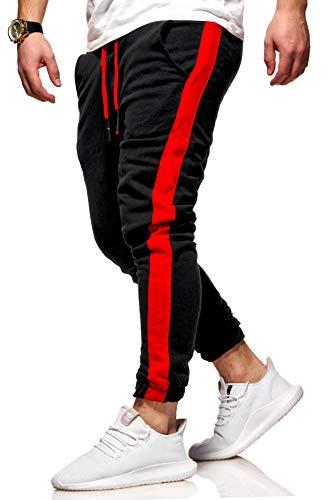 Rello & Reese Herren Trainingshose Stripe Jogginghose Hose Sporthose R-1211 [Schwarz, XL]
