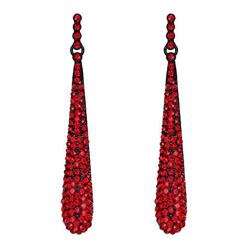 Pendientes Largos de Mujer - Clearine Aretes en Forma de Lágrima, Estilo Elegante Precioso Cristales para Boda Novia Fiesta Rojo