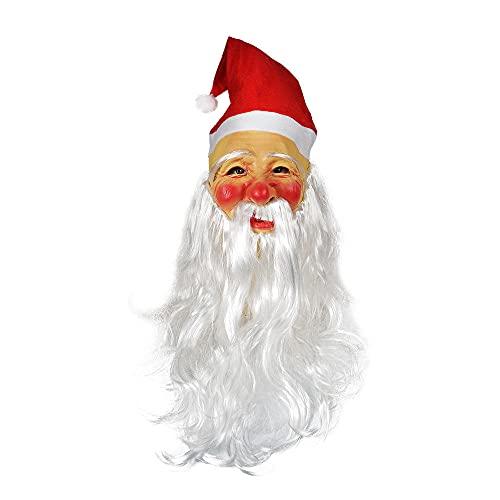 Huangmang Halloween cabeza de Papá Noel de látex con barba larga, perfecta para carnaval y Halloween, disfraz de adulto