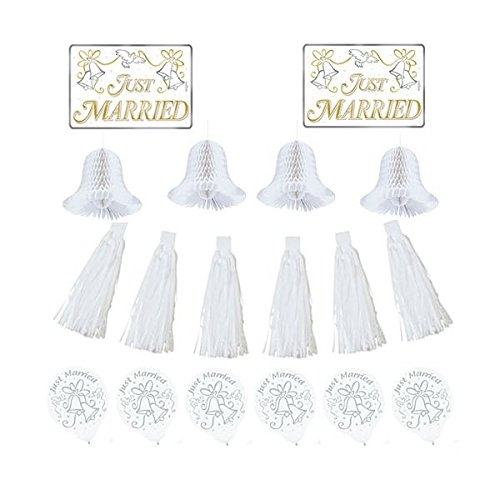 Amscan Classic Tassels and Honeycomb Bells Wedding Car Decorating Party Kit, 1 pieces, White