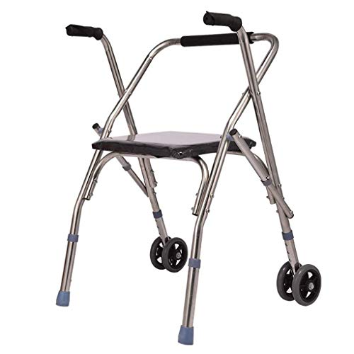 LXDDJZXQ Andador para Ancianos Walker, Andador Ajustable de Altura Marco de Acero Inoxidable con Andador y Ruedas 4 Bastones de bastón y Silla de Transporte