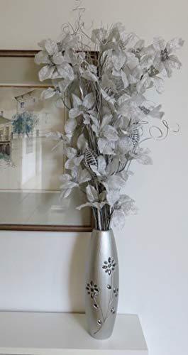Free Jarrón de Madera de Perlas con Grabado de Plata DE 30 cm con Flor Exótica de Plata, arreglos de Flores orgánicas Hechas a Mano y Hierbas secas Indias. Altura aproximada: 88 cm.