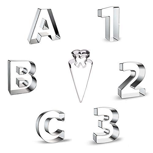 Miuezuth Ausstechform Schultüte Ausstecher Edelstahl ABC Buchstaben Keksausstecher 123 Zahlen Zuckertüte Schulanfang, Ausstechform Set perfekt zur Einschulung oder denSchulstart
