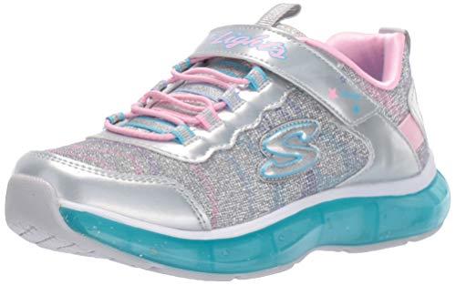 Skechers Move 'N Groove Sparkle Spinner Sportschuhe, Mädchen, Grau - Silberfarbener Glitzer. - Größe: 9.5 UK
