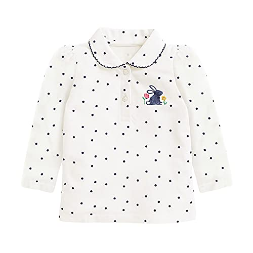 LittleSpring Little Girls Long Sleeve Polo Shirt with Bunny Pattern Polka Dots White Size 5