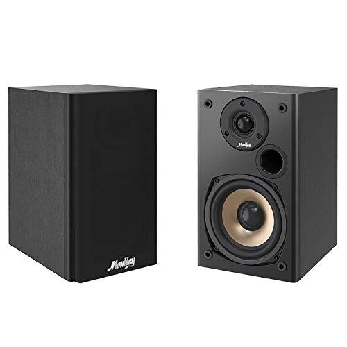 Moukey 100 Watts Bookshelf Speakers (Pair) - 2.0 Near Field Audio Speakers – Mountable Book Shelf Speakers for Home Theater and Studio, Wooden Enclosure Stereo Speakers, Black