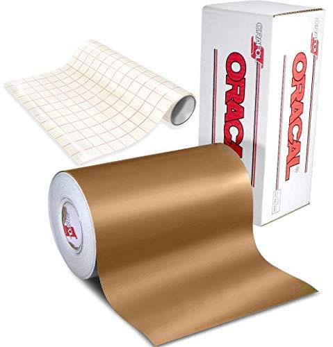 Oracal 631 Klebefolie, matt, Kupfer, für Cameo, Cricut und Silhouette, inkl. gratis 30,5 x 61 cm Rolle transparentes Transferpapier (1,8 m x 30,5 cm)