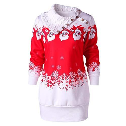 Scenxion - Sudadera para mujer, diseño de Papá Noel con hombros descubiertos, talla grande, Otoño-Invierno, Mujer, color Sred, tamaño 4X-Large