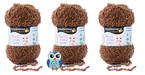 3x25 Gramm Schachenmayr Baby Smiles Lenja Soft Nr. 1011 Teddy aus 100% Polyester Speichelecht, Schadstoffgeprüft, Hautfreundlich + 1 Eulen Knopf Holz zum aufnähen