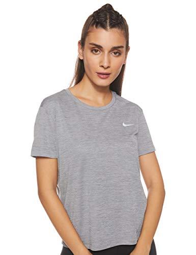 Nike Damen W NK Miler TOP SS T-Shirt, Gunsmoke/Htr/(Reflective silv), L