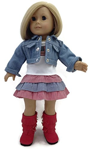 Doll Clothes Fits American Girl Dolls 3 pc Patriotic Skirt Set