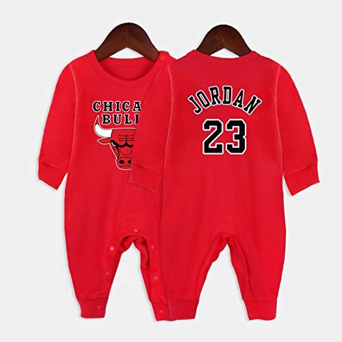 AXTMR Traje de Arrastre para bebé, Pijama de una Pieza para bebé con Cobertura, Adecuado para Camisetas de Baloncesto para bebés recién Nacidos de 3 a 15 Meses, 24 Estilos,Jordan-Red,80CM
