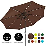 Best Choice Products 10ft Solar LED Lighted Patio Umbrella w/Tilt Adjustment, Fade-Resistant Fabric - Black 8 24 SOLAR-POWERED LIGHTS: Use it day or night, with 24 built-in solar powered LED lights that can run for 6-7 hours HIGH-DURABILITY FABRIC: Made with high-quality water-, UV-, and fade-resistant fabric to last for years of enjoyment ADJUST YOUR SHADE: Stay cool at all times, as the easy push-button tilt system gives coverage no matter what time of day, while a wind vent cools air under the umbrella