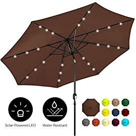 Best Choice Products 10ft Solar Powered Aluminum Polyester LED Lighted Patio Umbrella w/Tilt Adjustment and Fade… 12 24 SOLAR-POWERED LIGHTS: Use it day or night, with 24 built-in solar powered LED lights that can run for 6-7 hours HIGH-DURABILITY FABRIC: Made with high-quality water-, UV-, and fade-resistant fabric to last for years of enjoyment ADJUST YOUR SHADE: Stay cool at all times, as the easy push-button tilt system gives coverage no matter what time of day, while a wind vent cools air under the umbrella