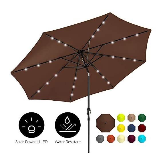 Best Choice Products 10ft Solar LED Lighted Patio Umbrella w/Tilt Adjustment, Fade-Resistant Fabric - Black 1 24 SOLAR-POWERED LIGHTS: Use it day or night, with 24 built-in solar powered LED lights that can run for 6-7 hours HIGH-DURABILITY FABRIC: Made with high-quality water-, UV-, and fade-resistant fabric to last for years of enjoyment ADJUST YOUR SHADE: Stay cool at all times, as the easy push-button tilt system gives coverage no matter what time of day, while a wind vent cools air under the umbrella