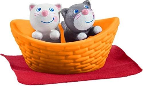 HABA 303891 - Little Friends – Katzenbabys | Süße Haustiere für die Little Friends-Biegepuppen | Mit Katzenkörbchen und Decke | Aus strapazierfähigem Kunststoff für lange Spielfreude