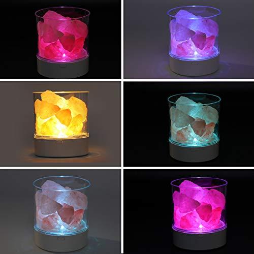 01 Lámpara de Sal, 7 Colores cambiantes Luz Nocturna de Sal Carga...