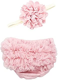 Ruffle Bloomer & Lace Flower Infant Headband Set, Newborn Baby Girl, Mauve Pink