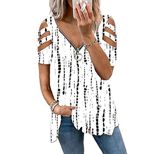 Damen Blusen Sommer Kurzarm Kalte Schulter Sexy V-Ausschnitt Reißverschluss Bluse Tunika Oberteile T-Shirt Tops Lose Leopard Sommerbluse Tuniken (Weiße-Streifen, S, s)