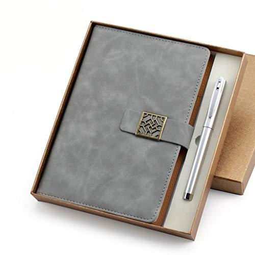 Cuadernos Cuaderno de Negocios Diario Bloc de Notas Espesar Literario Cinturón de Cuero Hebilla Conferencia de Trabajo Libro de Registros 8.4x5.9 Pulgadas Oficina y Papelería (Color : Grey)