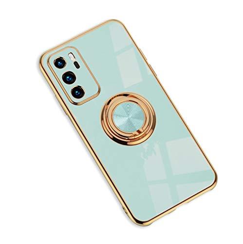 Jacyren Hülle Huawei P20 Pro Handyhülle Huawei P20 ProSchutzhülle,Casemagnetische KFZ Halterung Ultradünnes Silikon Schale 360-Grad Finger-Halter Anti Fall Cover. (Huawei P20 Pro, Helles Cyan)