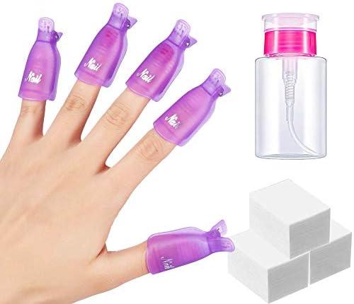 LANDOT Gel Nail Polish Remover Kit 10pcs Gel Nail Polish Remover Clips Cap 400pcs Nail Wipe product image