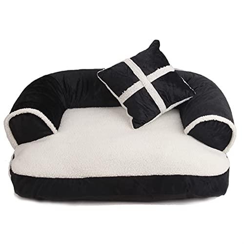 Sofá cama de perro sofá gato mejor mascota casera gato nido clásico británico invierno cálido dormir copa para dormir alfombrilla para perros pequeños y medianos ( Color : Black , Size : 70x50cm )