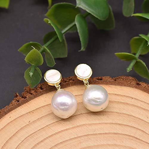 Pendientes Colgantes De Plata 925 para Mujer, Perla Blanca Barroca Natural, Joyería De Lujo Hecha A Mano Romántica Simple