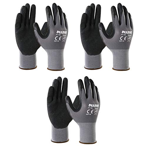 Safety Work Gloves & Gardening Gloves for Men, 3 Pairs Pack, Seamless Knit Nylon Glove with Breathable Foam Latex Coated,Ideal for General Purpose,Home Improvement,Painting (Large)