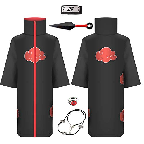 Itachi Costume Long Ninja Robe Akatsuki Cloak - Halloween Costume with Naruto Headband,Plastic Minato Kunai, Ring ,Necklack Black