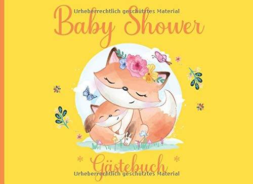 Gästebuch Baby Shower / Baby Party - Fuchs - gelb - 100 Seiten für Ihre Gäste