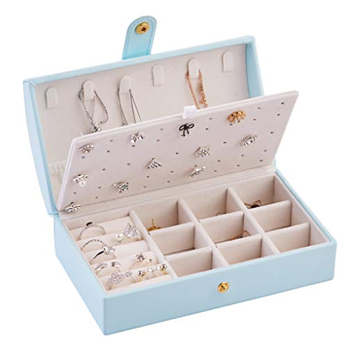 Floridivy Doubel Layer Jewelry Box Vrouwen reizen sieraden Organizer Box, oorbellen Ring Ketting Oorbellen Ring PU Leather Case - Light Blue