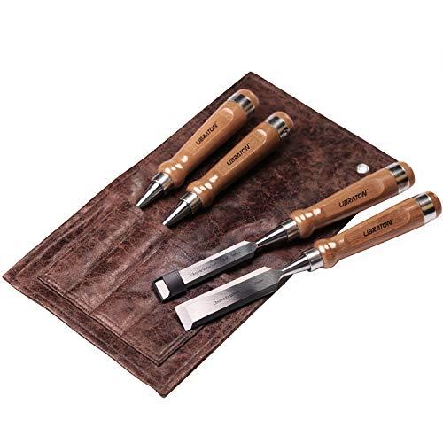 Libraton Juego Cinceles Formones para Madera 4 Cinceles Profesionales 6/10/16/25 mm,Sobrecubierta de Polietileno para Evitar Deformación