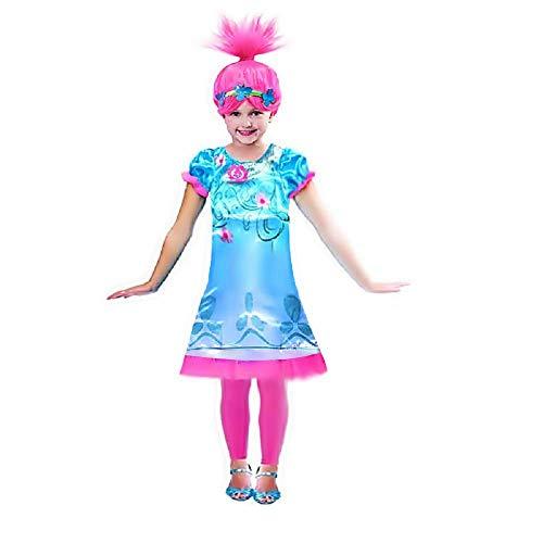 Lovelegis Disfraz y Peluca - Trolls de Amapola - Amapola - niña - Disfraz - Carnaval - Halloween - Cosplay - Idea de Regalo - Talla 110 - 2/3 años