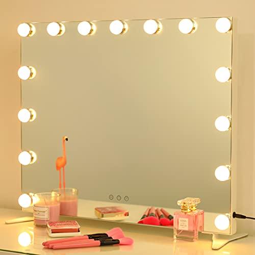 2-FNS Hollywood Espejo de maquillaje iluminado con 15 bombillas LED regulables para vestidor, espejo cosmético sin marco, color blanco