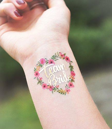 Adhesivo Crew® Oro Tattoo Set Team Bride novia JGA Flores Corazón ...