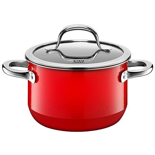 Silit Passion Red Koch/- Fleischtopf, hoch, 16cm, Glasdeckel, 2,0l, Silargan Funktionskeramik, Topf Induktion, rot