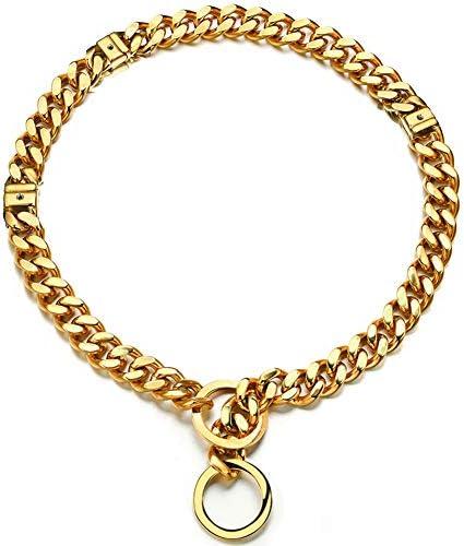 Adjustable 18K Gold Dog Collar Slip Choker Stianless Steel 15mm Big Dog Puppy Necklace Choke product image