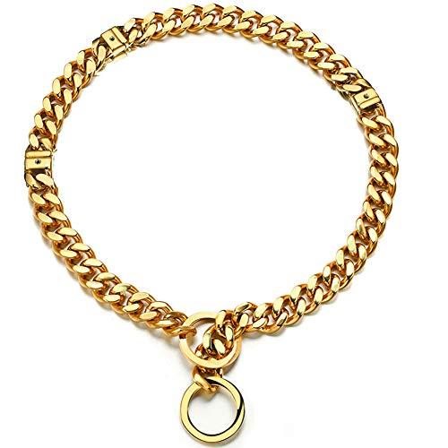 Adjustable 18K Gold Dog Collar Slip Choker Stianless Steel 15mm Big Dog Puppy Necklace Choke Chain Training Collar Cuban Link for Big Small Dog L