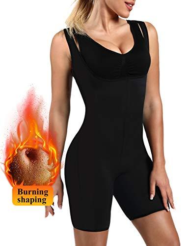 NOVECASA Traje Neopreno Sauna Mujer Talladora del Cuerpo Completo Trajes de Sudor Cintura Adelgaza Caliente Chaleco Pérdida de Peso Faja Reductora (M, Negro-Negro) 🔥