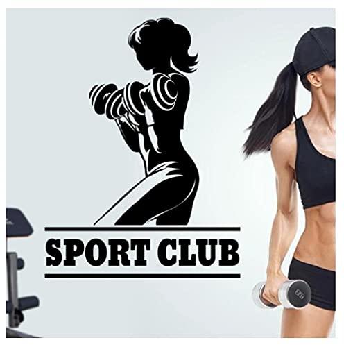 Etiqueta De La Pared Stickers Sport Club Gym Etiqueta De Gimnasia Chica Mancuernas Fitness Crossfit Pósteres Calcomanías De Pared Decoración 54X77cm