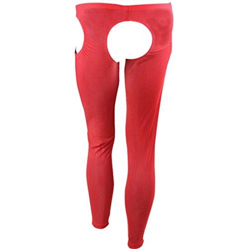 dPois Herren Sexy Strumpfhose Offen Schritt Legging Mesh Hose Männer Ouvert-Panties Tights Pants Lang Short Unterwäsche Pantyhose Schwarz Rot Weiß Rot One_Size