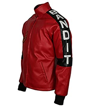 Leatherobe Smokey and The Bandit Burt Reynolds Red Bomber Cosplay Leather Jacket Costume  L to fit Chest 44-45