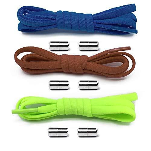 Gurxi 3 Stück Schleifenlose Schuhbänder Schnürsenkel mit Hochwertigem Lock Schnürsenkel-Set Elastische Schnellverschluss Schnellschnürsystem für Kinder Sport Senioren Triathlon (B)