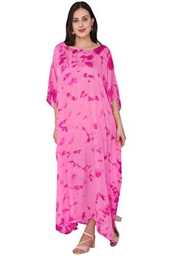 SKAVIJ Caftan Playa Mujer Talla Grande Vestidos Mujer Verano Largo Rosado Talla Única
