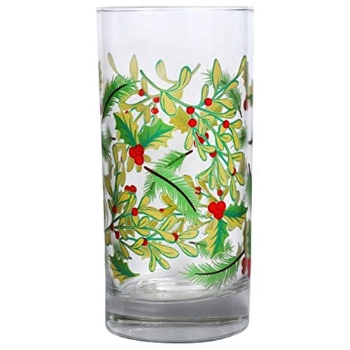 Water Coolers Set of 4-16.25 oz. Impressive, Durable, Multi Purpose Glasses: Ice Tea, Beer, Sangria, Cocktails Great for Christmas & Daily Use. Adorned with Holly Leaves & Berries(4)