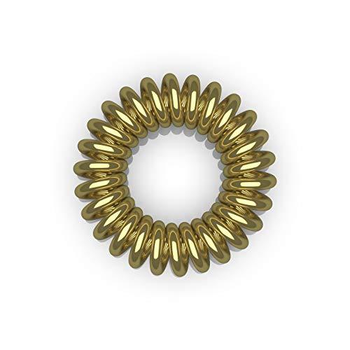 10er Set Spiral Haargummi - Haargummis für weniger Spliss und gebrochene Haare - Haargummi Spirale für feine Haarpartien - Telefonkabel Spiralhaargummi, gold, 3,5cm