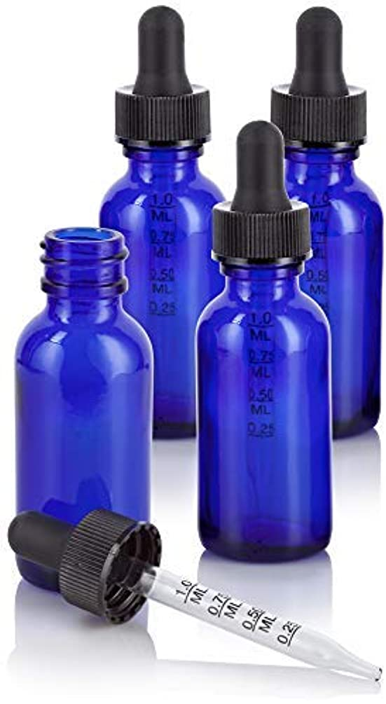 手段航空死1 oz Cobalt Blue Glass Boston Round Graduated Measurement Glass Dropper Bottle (4 pack) + Funnel for essential oils, aromatherapy, e-liquid, food grade, bpa free [並行輸入品]
