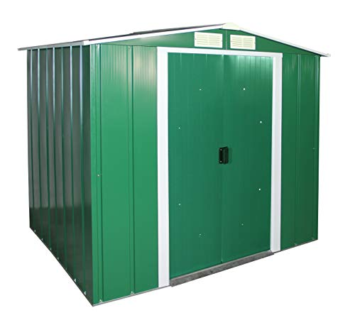 Duramax ECO 6' x 6' Hot-Dipped Galvanized Metal Garden Shed - Green with Off-White Trimmings - 15 Years Warranty