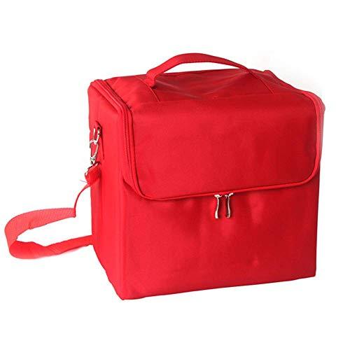 Unknow Caja de Maquillaje, Bolsa de artículos de tocador para Hombres y Mujeres, artículos de baño de Viaje Resistentes al Agua, Organizador, Bolsas de cosméticos de Tela Oxford, Rojo